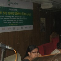 A landless women as speaker at a national seminar organised by the RTI Commission